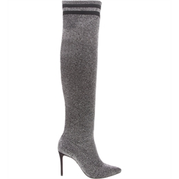 Bota Sock Over The Knee Lurex Prata SCHUTZ