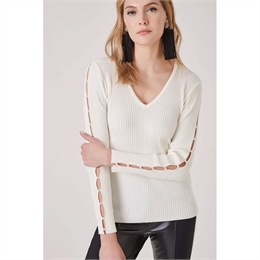 Tricot Pérola Manga Off-white </br><b> ANIMALE </b>