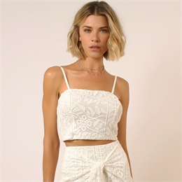 Top Ofelia renda off-white </br><b> LINDA DE MORRER </b>