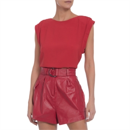 Blusa Cropped Crepe Vermelha Animale