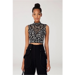 Top Cropped Seda Alice Estampa Preto e Branca ANIMALE
