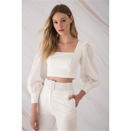 Blusa Cropped Laise Off-white IORANE