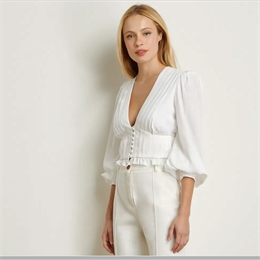 Blusa Cropped Pregas Off-white IORANE