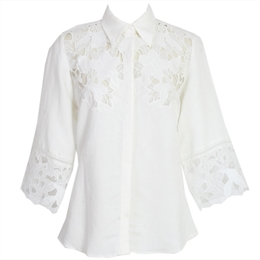 Camisa Samira Off-white Renda