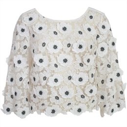 Blusa Anita Off-white Bordado Flores
