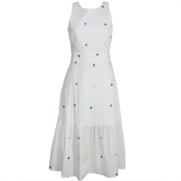 Vestido Carol Off-white c/ Bordado Bola Colorida
