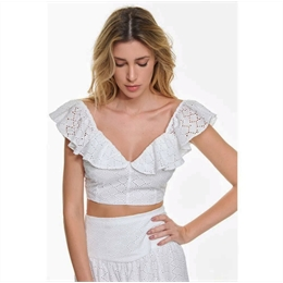 Top Cropped Laise branco IORANE
