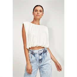 Blusa Cropped Drapeada Off-white